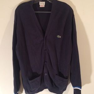 Women's Lacoste Button Down V-Neck Sweater Size 6